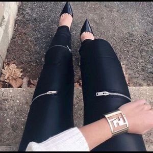 Zara Women's Black Moto Pants Small